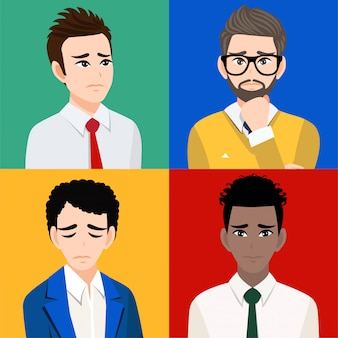 Sad men or unhappy people isolated cartoon character