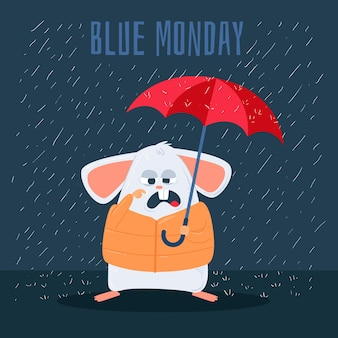 Sad mouse on blue monday