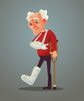 Sad old man broke his leg, flat cartoon illustration