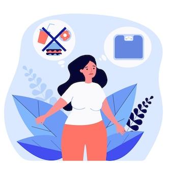 다이어트와 저울에 대해 생각하는 슬픈 과체중 여성. 정크 푸드 평면 벡터 일러스트 레이 션을 포기 하는 뚱뚱한 여성. 배너, 웹 사이트 디자인 또는 방문 웹 페이지를 위한 다이어트, 건강한 생활 방식 개념