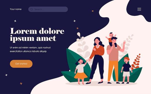우는 아이들과 함께 서 있는 슬픈 부모. 어머니, 행동, 어려움 평면 벡터 일러스트 레이 션. 배너, 웹 사이트 디자인 또는 방문 웹 페이지에 대한 부모 및 가족 개념