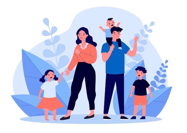 泣いている子供たちと立っている悲しい親。母親、行動、難易度のイラスト。バナー、ウェブサイトまたはランディングウェブページの親子関係および家族の概念