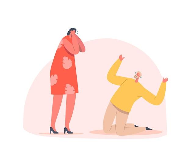 泣いている悲しい人々、絶望的な男性と女性のキャラクターは手で顔を閉じ、膝の上に立って涙を流しながら否定的な感情を表現します、動揺、機嫌が悪い、悲しみ。漫画のベクトル図