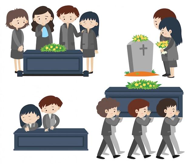 Sad people at funeral