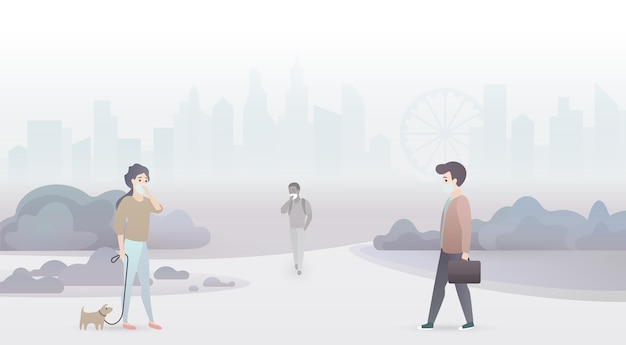 Sad people suffer from air pollution and wear protective masks. industrial smog city background