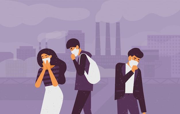배경에 연기를 방출하는 공장 파이프에 대 한 거리를 걷고 보호 얼굴 마스크를 착용하는 슬픈 사람들. 미세 먼지, 대기 오염, 산업 스모그, 오염 물질 가스 배출. 삽화.
