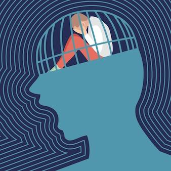 슬픈 사람은 비명을 지르는 머리 감옥 우울증에 앉아 울고있다