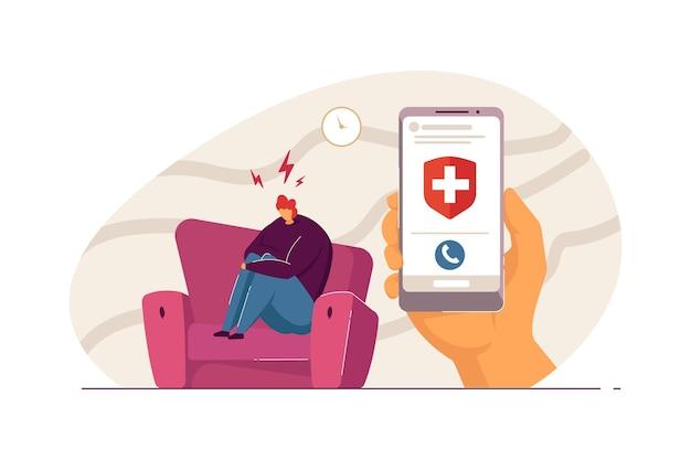 소파에 앉아 전화기를 들고 있는 슬픈 사람. 만화 캐릭터는 의사의 평평한 벡터 삽화를 기다리는 무릎을 껴안고 있습니다. 정신 건강, 배너, 웹 사이트 디자인 또는 방문 페이지에 대한 의학 개념