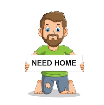 Sad and poor homeless man holding board with the text illustration