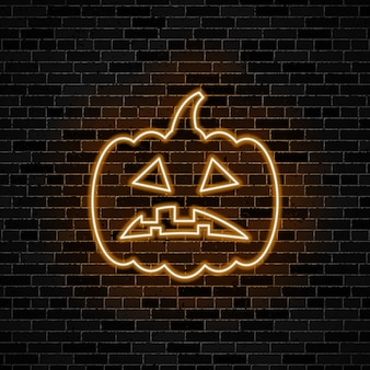 Sad pumpkin head neon glow sign on dark brick wall background.  illustration for halloween or day of the dead