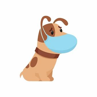 Грустный щенок с защитной маской на лице. концепция защиты от респираторных заболеваний, аллергии. иллюстрация на белом фоне.
