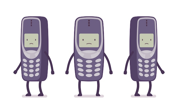 Sad retro cell phone