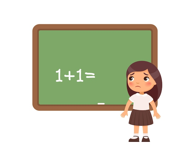 Sad schoolgirl standing in front of a blackboard illustration