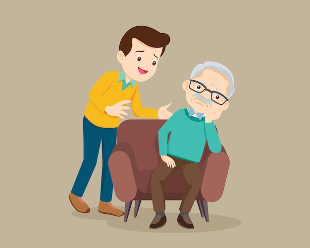 Печальный старший мужчина сидит и утешает мужчину, расстраивает его