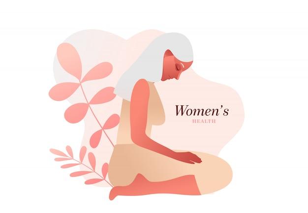 悲しい年配の女性。尿失禁、膀胱炎、不随意の排尿の女性イラスト。膀胱の問題。
