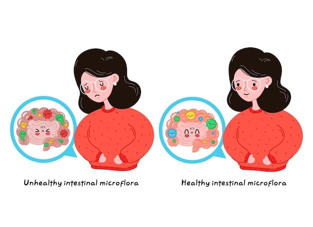 건강한 대 건강에 해로운 장내 미생물을 가진 슬프고 아프고 행복한 젊은 여성