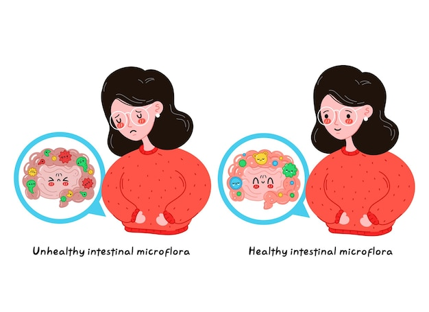 Sad sick and happy young women with healthy vs unhealthy intestine microflora