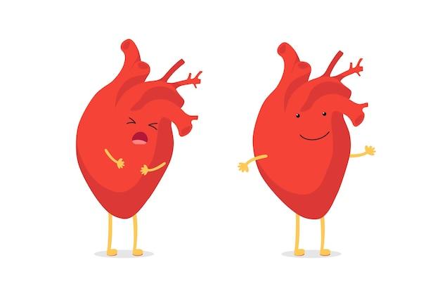 슬프고 아프고 건강에 해로운 외침 vs 건강하고 강한 행복한 미소 귀여운 하트 캐릭터. 의료 해부학 재미있는 만화 인간의 내부 장기 캐릭터. 벡터 평면 그림
