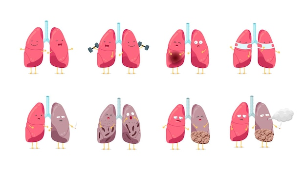 Sad sick unhealthy and healthy strong happy smiling cute lung character set human respiratory system