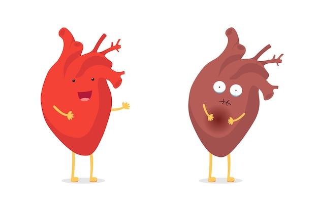슬프게 아픈 건강에 해로운 대 건강한 강한 행복한 웃는 귀여운 하트 캐릭터. 의료 해부학 재미있는 만화 인간의 내부 장기입니다. 벡터 평면 Eps 일러스트 레이 션 프리미엄 벡터