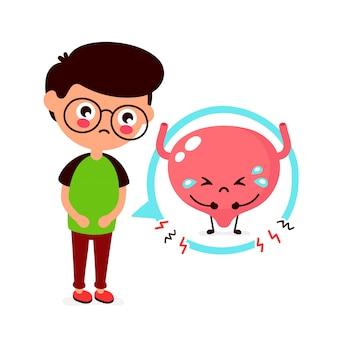 Грустно болен молодой человек с болью в мочевом пузыре.