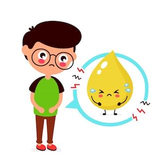 Грустно больной молодой человек с характером проблемы мочи. плоский мультфильм иллюстрации значок. изолированные на белом. проблема с мочевым пузырем, боль