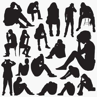 Sad sit silhouettes