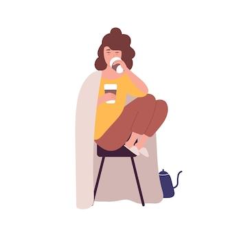 커피를 마시는 슬픈 졸린 젊은 여자. 카페인 의존 또는 중독, 비정상적인 행동의 개념