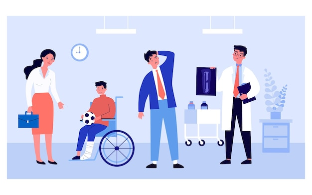 Sad son with broken leg and doctor showing x-ray to father. boy with soccer ball in wheelchair flat vector illustration. medicine, healthcare, injury concept for banner, website design or landing page