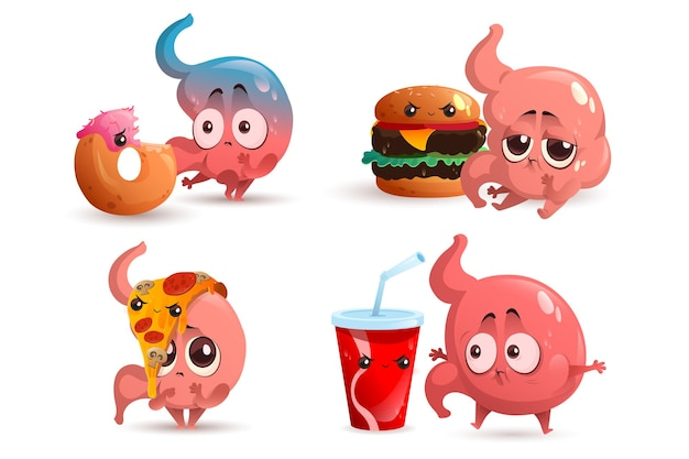Sad stomach character with fast food human gastric bloating indigestion and stomachache