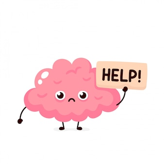 Sad suffering sick cute human brain organ asks for help character.  flat cartoon illustration icon . isolated on white backgound. suffering unhealthy brain character