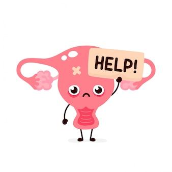 Грустно страдающий больной милый человеческий орган матки просит о помощи персонажа.