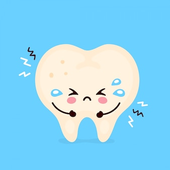 Sad suffering sick cute tooth character.