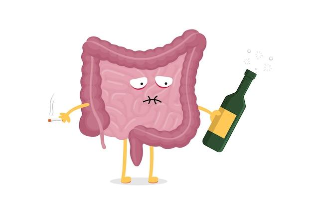 술병과 담배 복강이 있는 슬픈 아픈 취한 창자 캐릭터