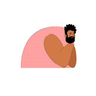 悲しい思考の男の手描きのトレンドスタイル