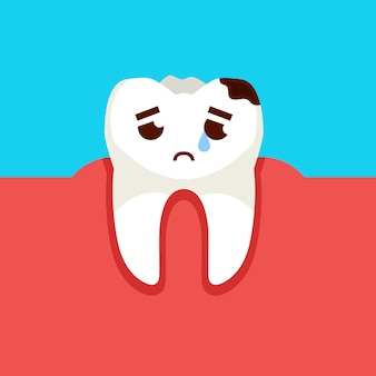Sad tooth cartoon character. caries prevention concept. vector illustration.