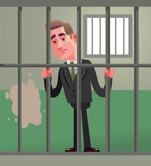 Sad unhappy office worker businessman politician character in prison. broken low
