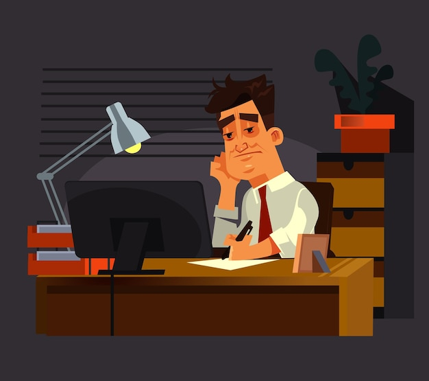 悲しい不幸なサラリーマンの男のキャラクターは遅くまで一生懸命働いています