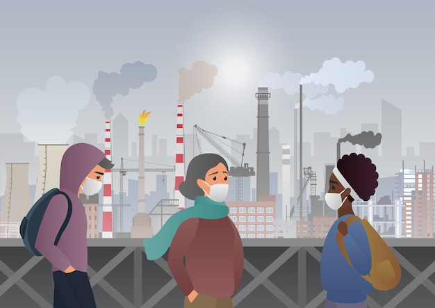 Sad and unhappy people wearing protective face masks on factory pipes with smoke on background