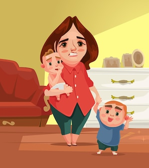 Sad unhappy tired mother character with many children flat cartoon illustration