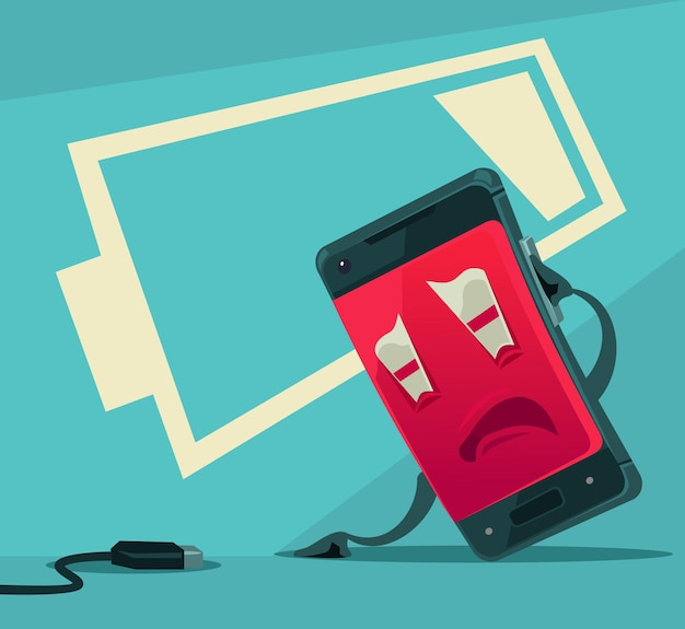 Sad unhappy tired smart phone with low battery energy illustration