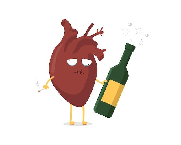 アルコールボトルとタバコの人間の循環器と悲しい不健康な病気の漫画の心臓のキャラクター