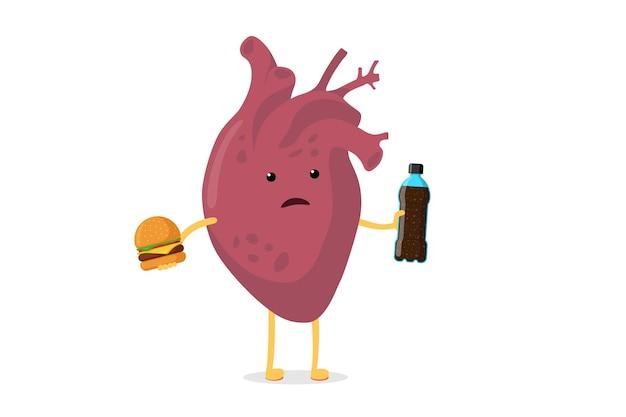 ファーストフードのソーダ飲料ボトルとハンバーガー人間と悲しい不健康な病気の漫画の心のキャラクター