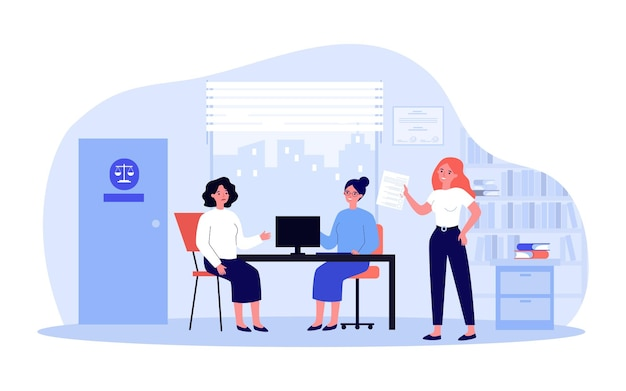 Sad woman in consultation with lawyer flat vector illustration. female person sitting in office and talking about her problems to jurisconsults. juridical help concept