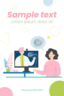 Sad woman counseling with psychologist online isolated flat illustration