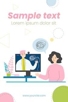 Грустная женщина консультируется с психологом онлайн на изолированной плоской иллюстрации