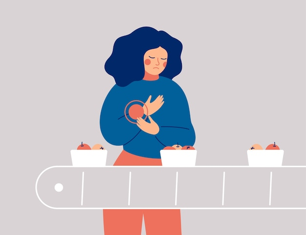 悲しい女性は手に痛み、不快感を持っています。若い女性のパッカーは仕事で彼女の手首を負傷しました