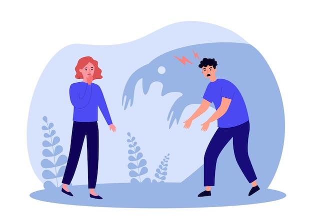 怒っている男の影から恐怖とストレスの悲しい女性。暴力と喧嘩している人々のカップル、フラットベクトルイラストを乱用します。バナー、ウェブサイトのデザインまたはランディングウェブページの家族の喧嘩の概念