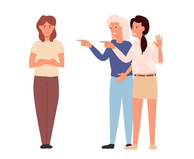 下を向いている悲しい女性と別の女性が彼女を指さしている