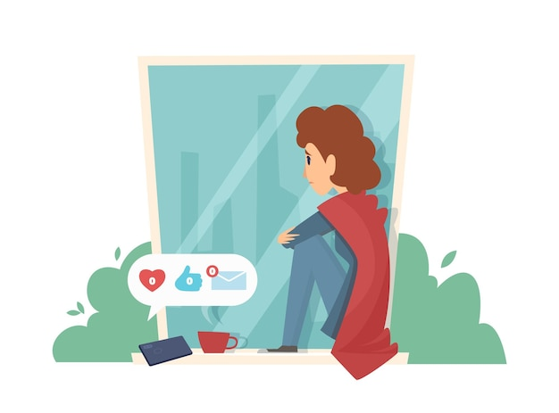 창턱에 슬픈 여자. 소셜 미디어 중독, 메시지 없음. 우울한 여자 벡터 일러스트 레이 션
